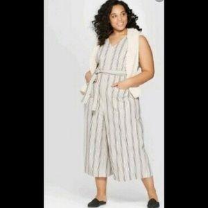 Women's Wide leg Sleeveless V-Neck Striped jumpsu